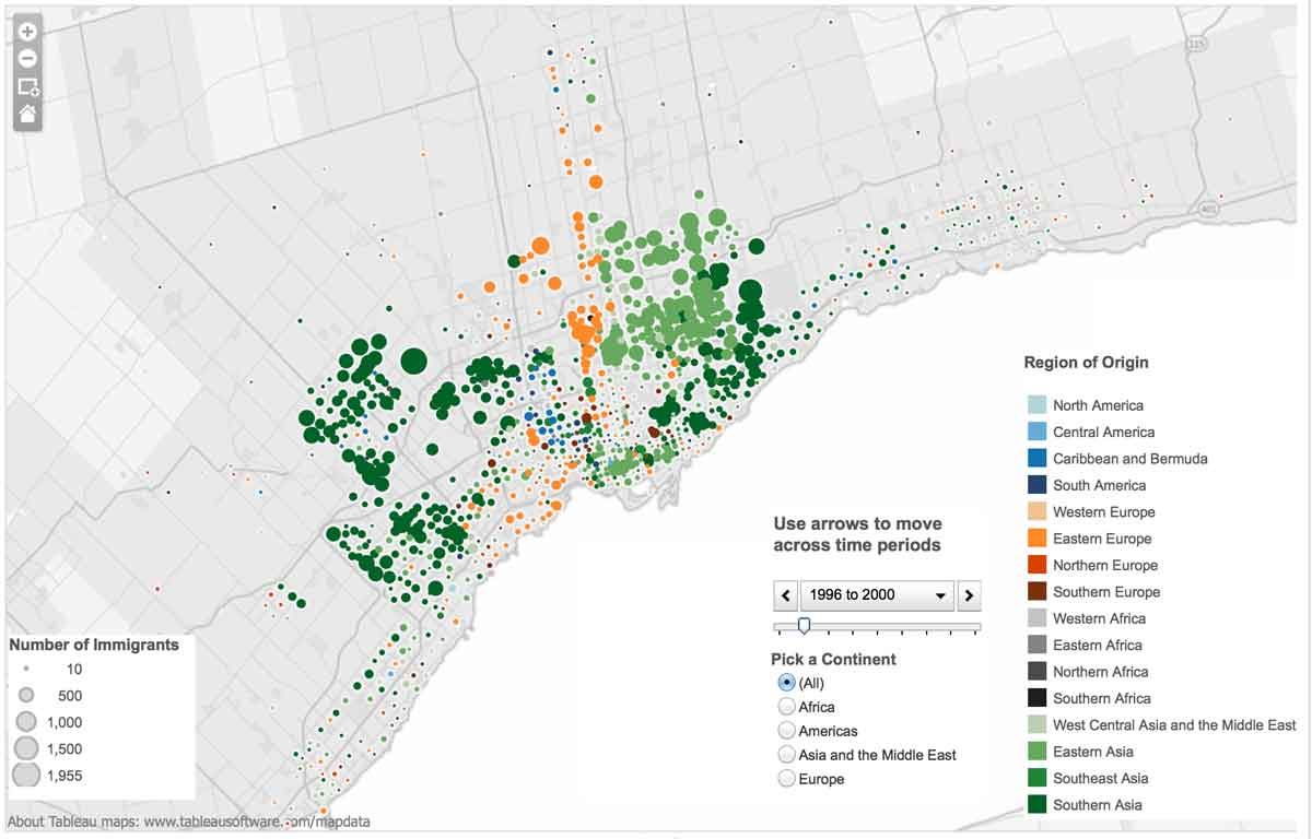 Maps of Sources of Immigration to Toronto region pre 1941-2005 ...